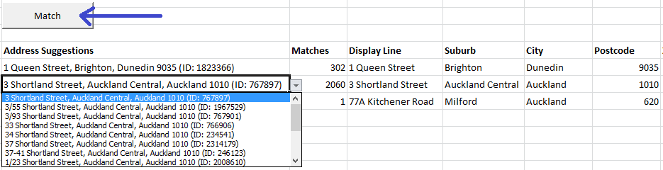 Address Matching Results in Excel